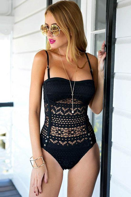 Hollow Out Lace Crochet One Piece Swimsuit