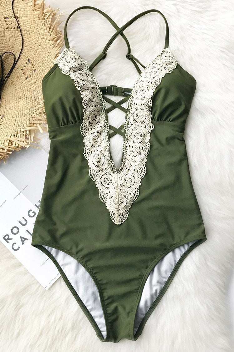 Vintage Lace Deep V Neck One Piece Swimsuit
