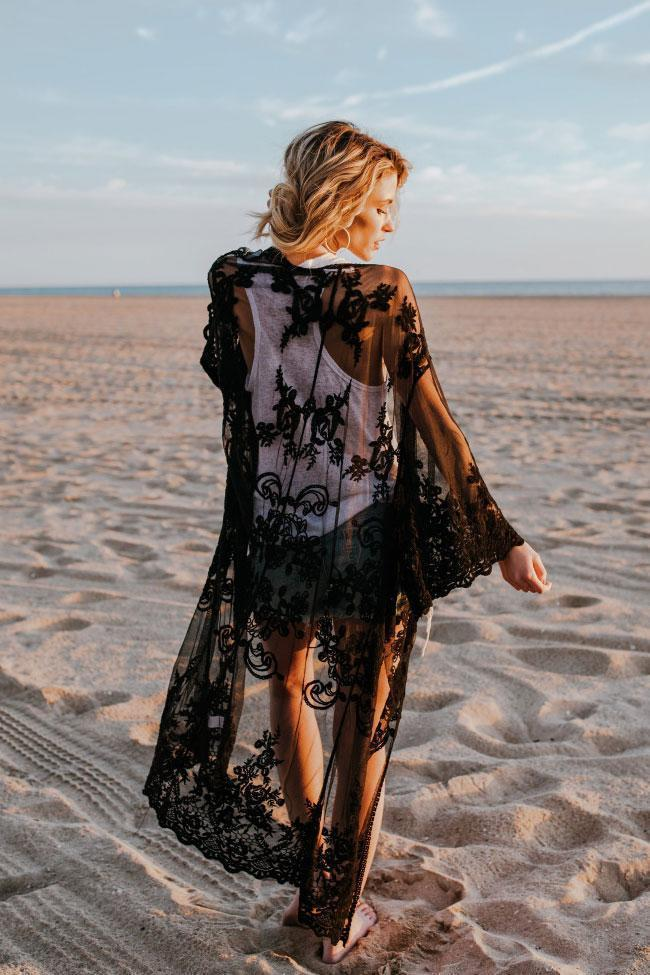 Open Front Scallop Edge Flare Sleeve Sheer Mesh Maxi Cover Up