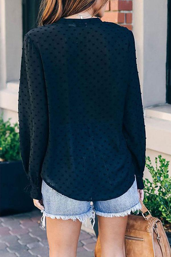 Casual Fashion Solid Color Long-Sleeved Blouse