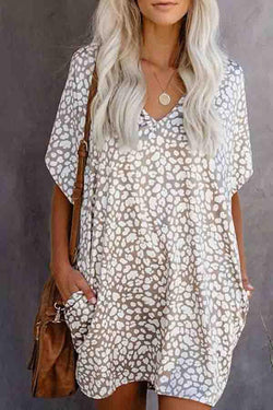 Natural Print V Neck Casual Wear Dress