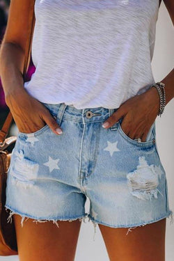 Star Regular Fit Hole Denim Shorts