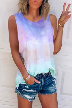 Sleeveless Gradient Round Collar Casual Wear Vest