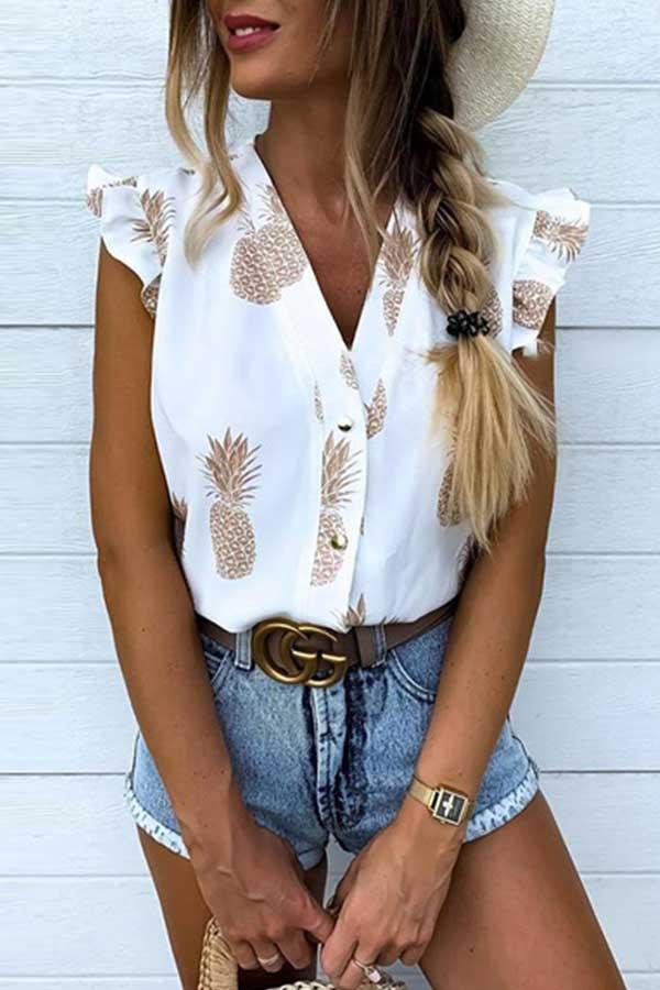 Sleeveless Natural Print V Neck Single Breasted Blouse