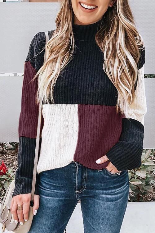 Long Sleeves Blog Patchwork Sweater(3 Colors)