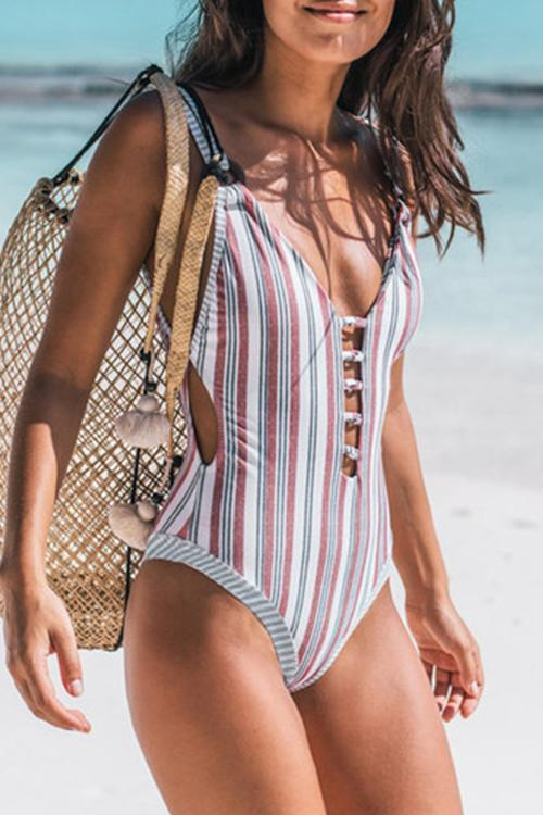 Backless Striped Multicolor One-piece Swimsuit