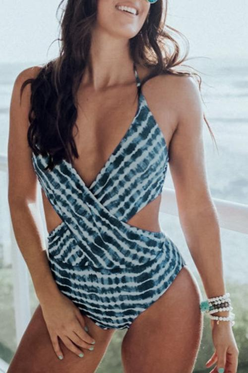 Tie Dye Dark Blue One-piece Swimsuit