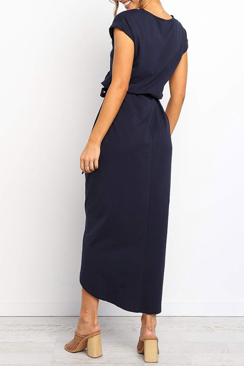 O Neck Split Button Design Midi Dress(2 Colors)