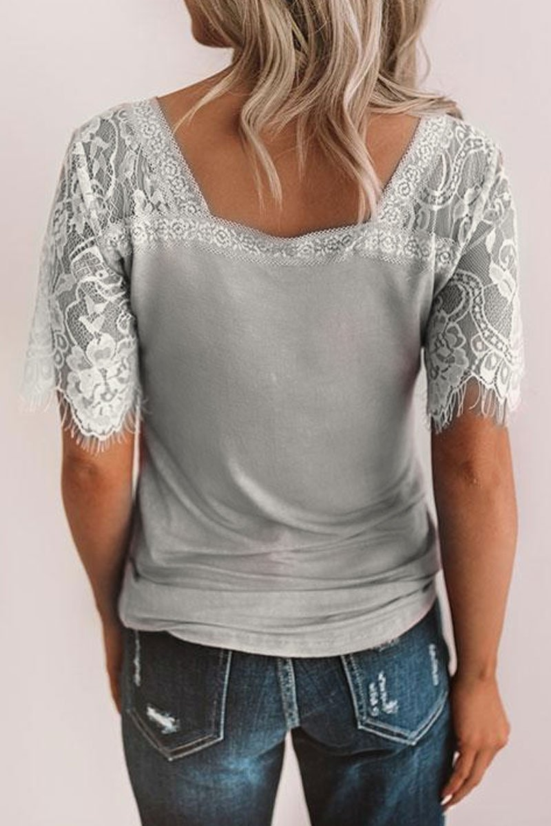 V Neck Lace Trim Patchwork T-shirt (4 Colors)
