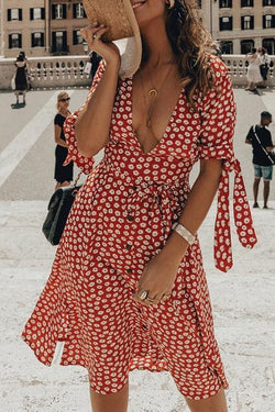 V Neck Floral Printed Red Mini Dress