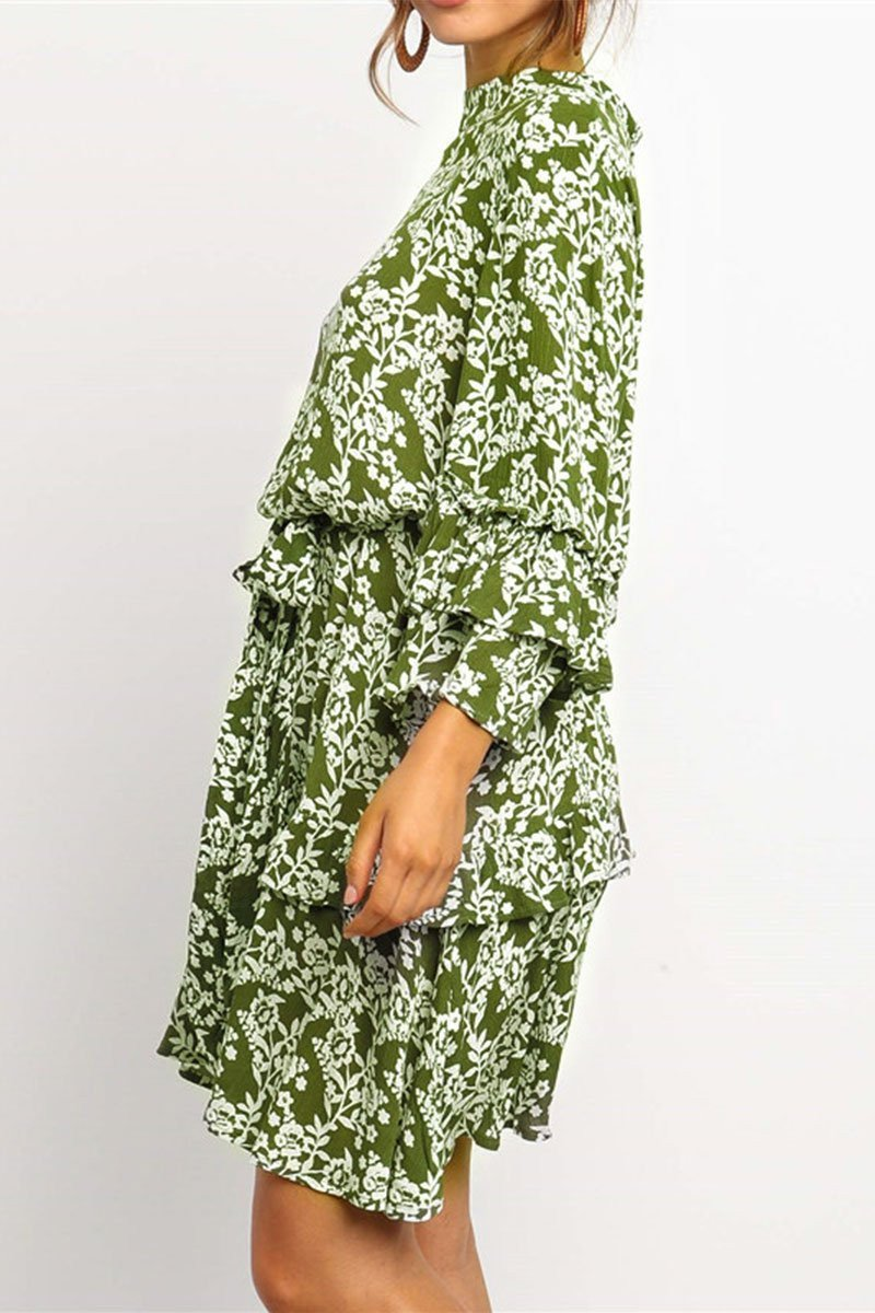 Turtleneck Printed Green Mini Cake Dress(Nonelastic)