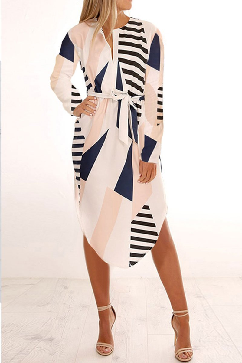Geometric Printed Multicolor Midi Dress