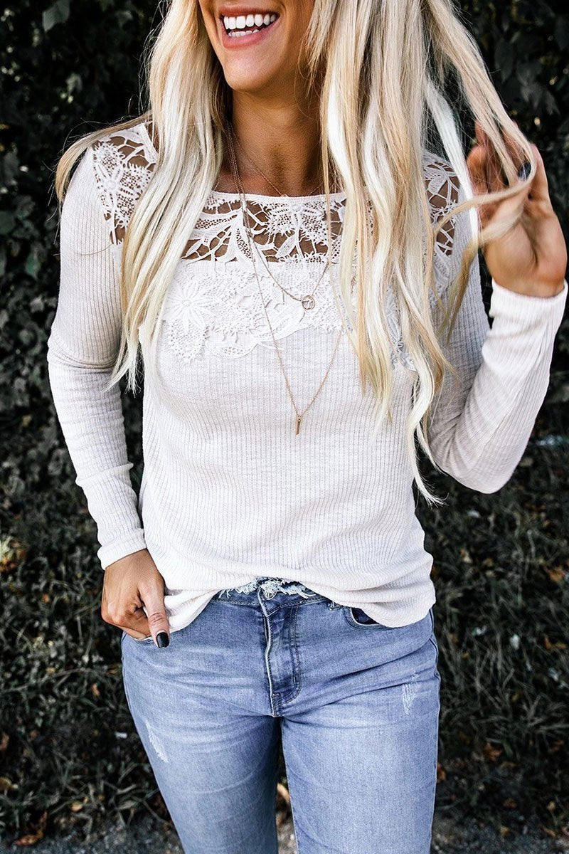 Lace Design Patchwork Solid White T-shirt