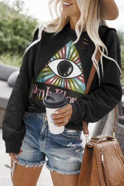 Eye Printed Black Sweatshirt