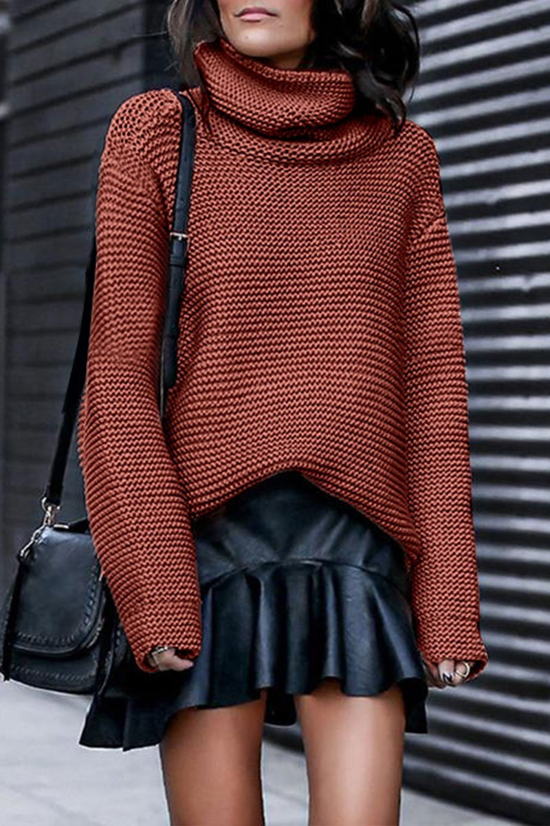 Turtleneck Brown Sweater