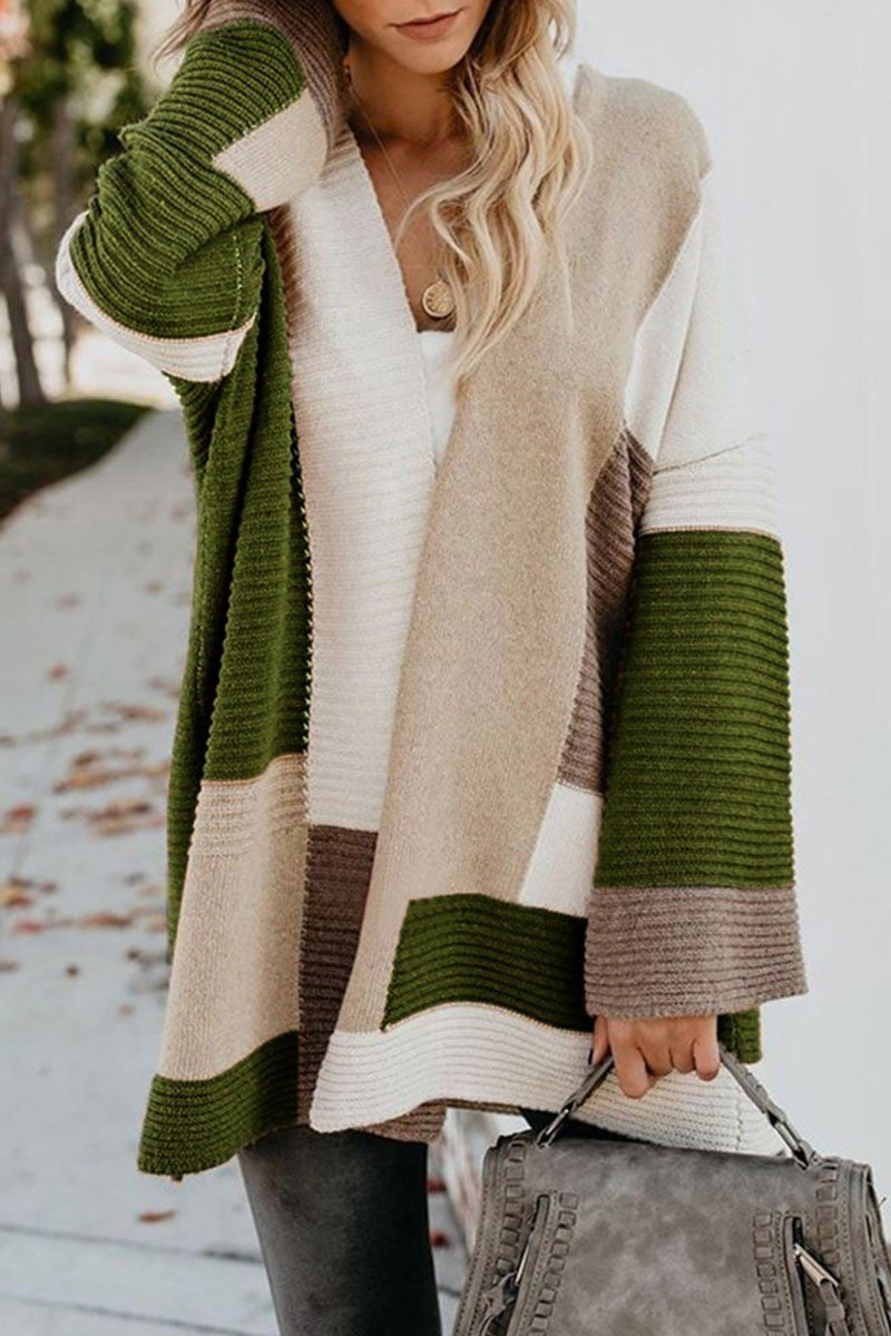Patchwork Loose Green Cardigan(2 Colors)