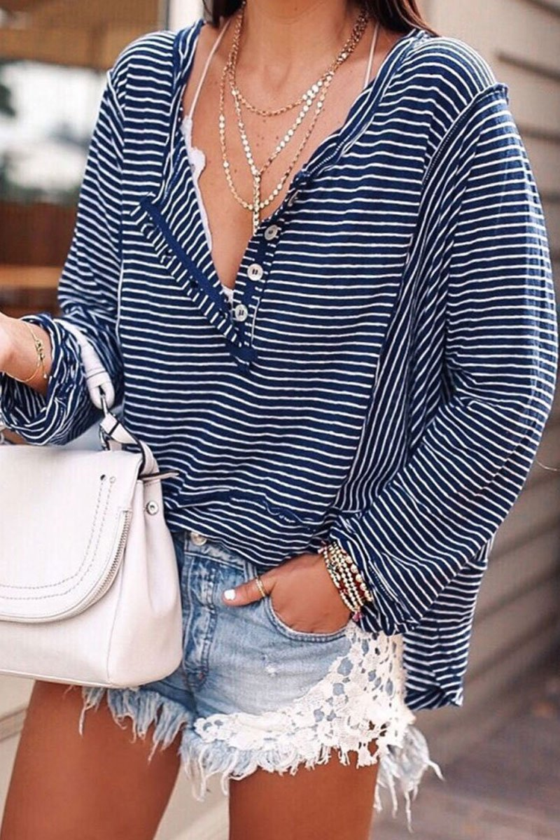 Buttons Down Striped Blue T-shirt