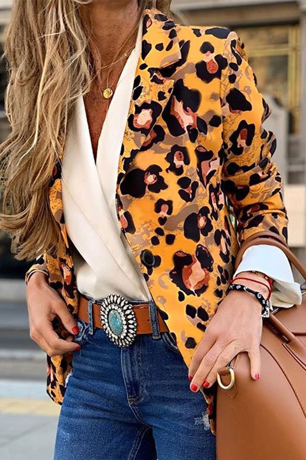 Leopard Printed Yellow Blazer