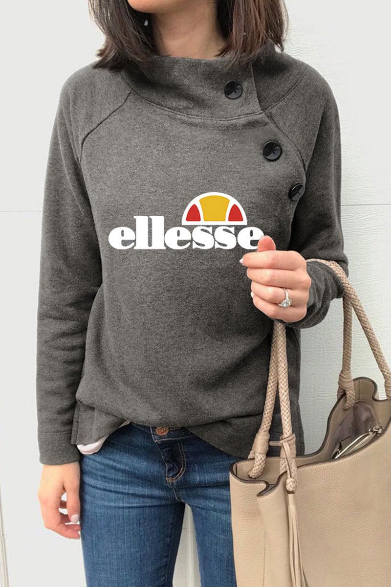 O Neck Letter Printed Grey Sweatshirt(2 Colors)