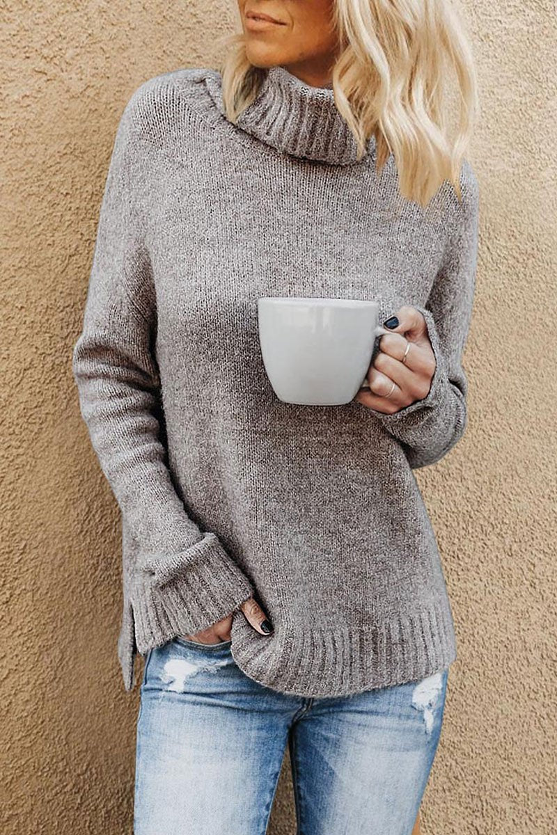 Turtleneck Khaki Sweater(2 Colors)