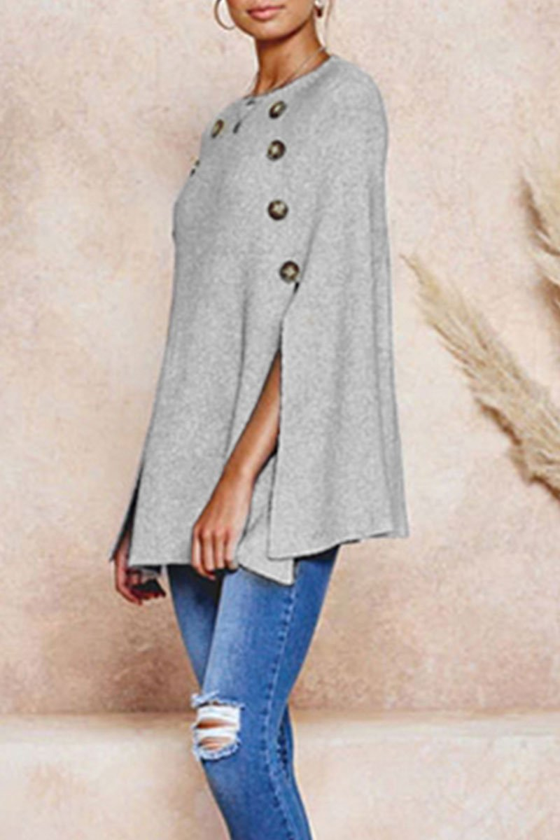 O Neck Cloak Design Light Grey Sweater