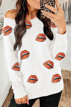 Lip Printed Black Sweatshirt