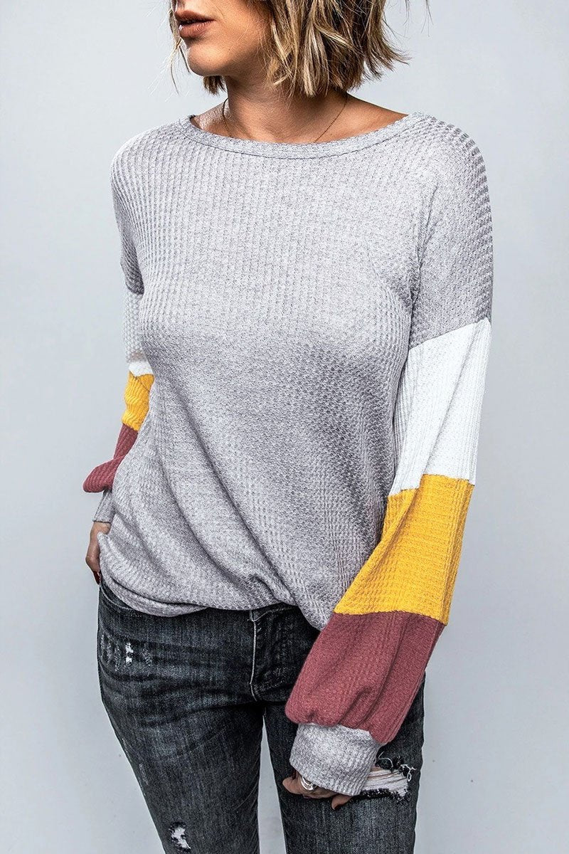 Color-lump Patchwork Light Grey T-shirt