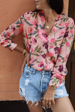 Elegant Floral Printed Light Pink Shirt