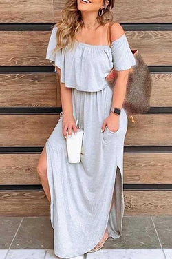 Short Sleeve Solid Color Off Shoulder Dress