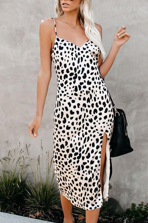 Sleeveless Leopard Print Spaghetti Strap Fork opening Dress