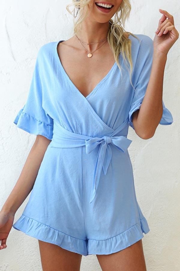 Solid Color V Neck Casual Wear Romper
