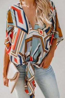 Casual Loose V-Neck Print Blouse