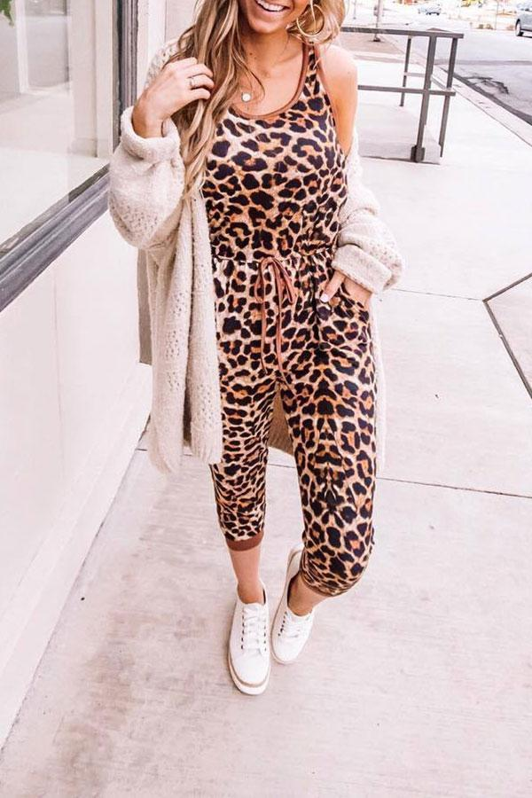 Fashion Leopard Print Jumpsuit