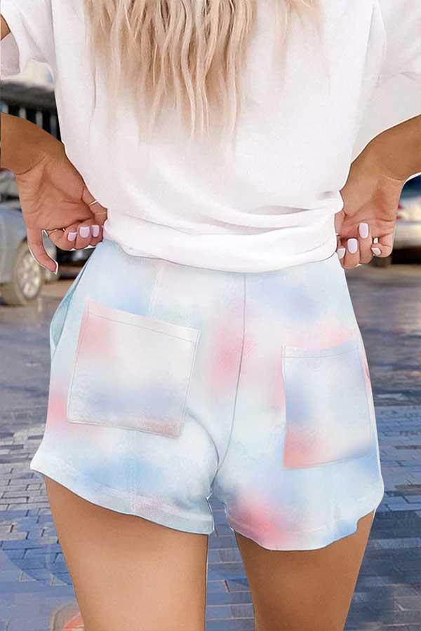 Regular Waist Tie Dye Regular Fit Casual Wear Shorts