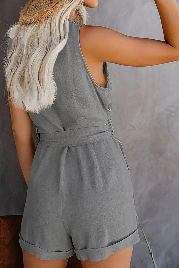 Sleeveless Solid Color V Neck Single Breasted Romper