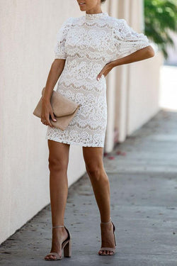 Feminine Lace Mini Dress