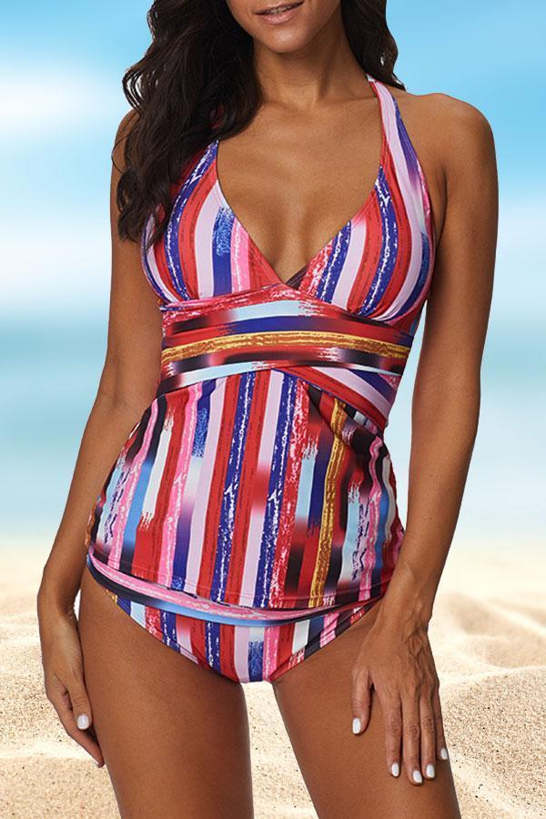 Modern Multicolor Striped Tankini