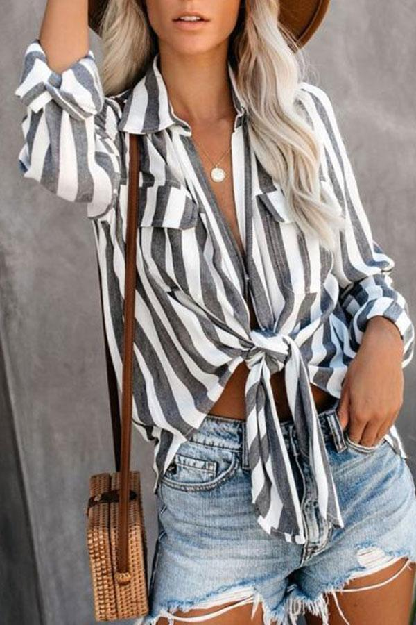Casual Long Sleeve Striped Blouse
