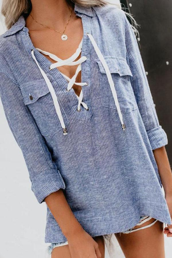 Casual Striped Solid Color Blouse
