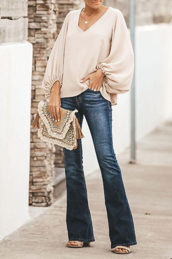 V neck Solid Color Feminine Blouse