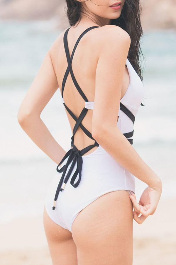 Solid Color Retro One Piece Swimwear