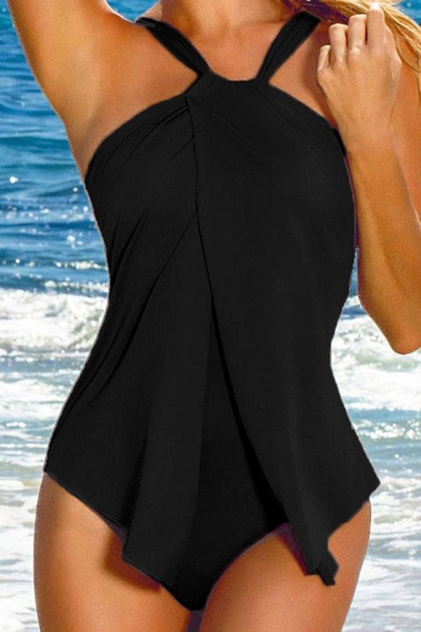 Solid Color Feminine One Piece Swimwear