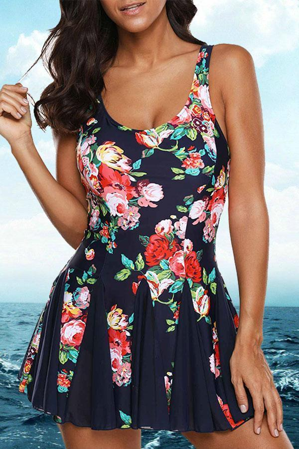 Floral Print Swimdress And Panty