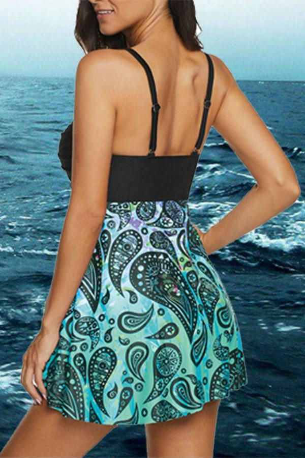Casual Backless Graphic Print Tankini