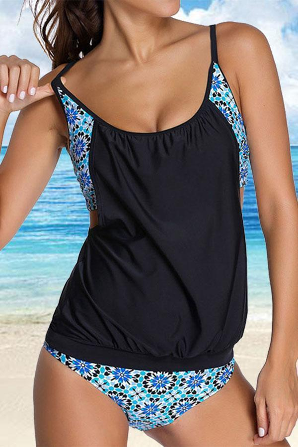 Sporty Backless Floral Print Tankini