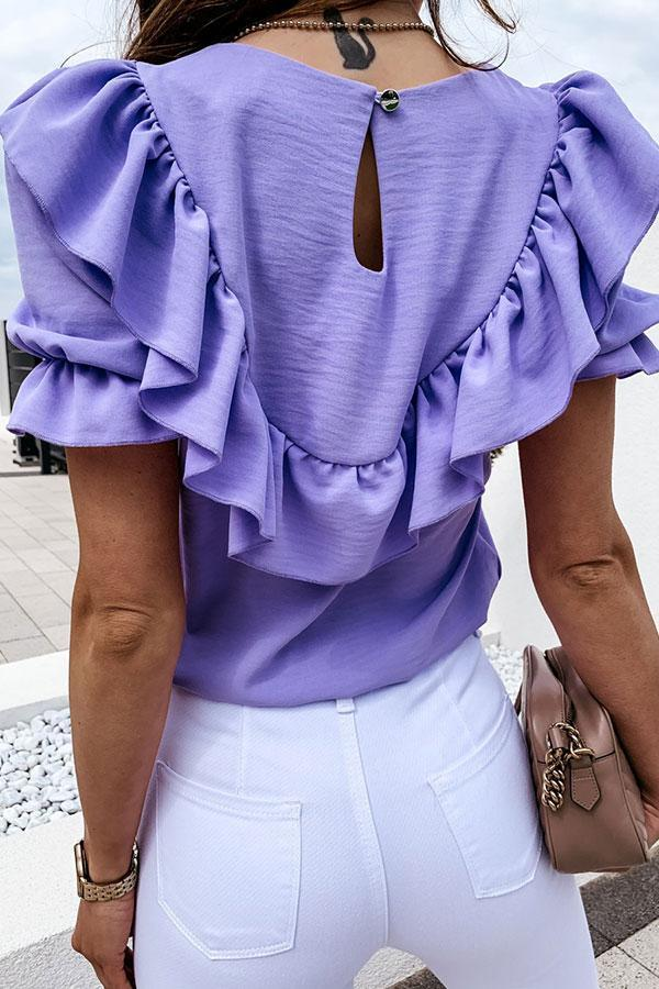 Sweet Solid Color Ruffled T-Shirt