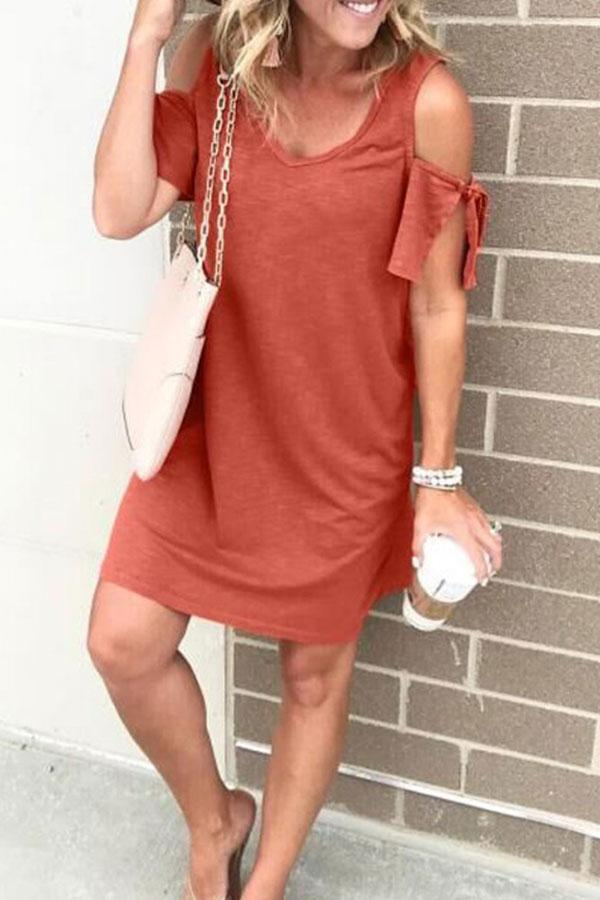 Solid Color Cold Shoulder Mini Dress