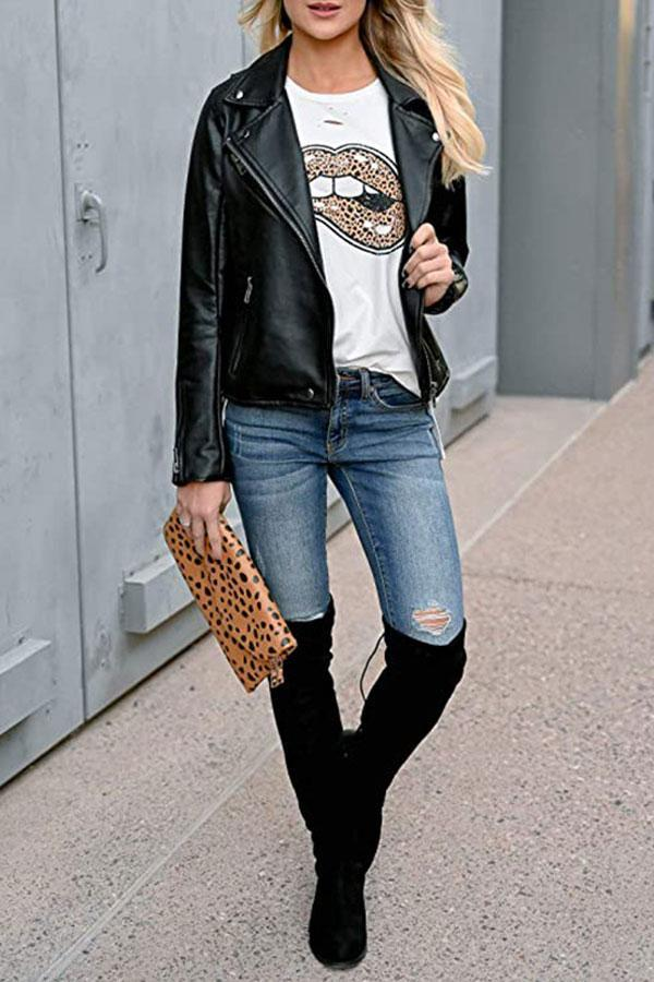 Simple Lips Leopard Print T-Shirt