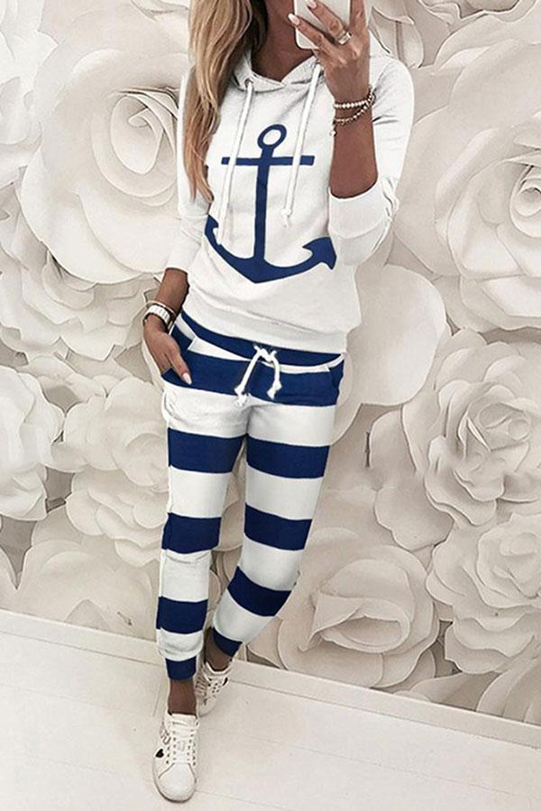 Casual Boat Anchor Print Pants Suit