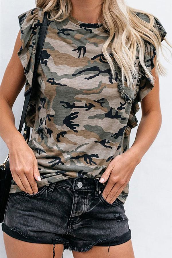 Casual Scalloped Camouflage T-Shirt